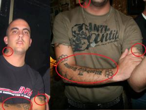 Les tatouages JNR, Blood and Honour, totenkopfs, etc, ne laissent aucun doute possible