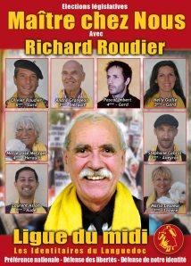 Richard Roudier. En haut à gauche, son fils Olivier Roudier. A droite, Stéphane Cabrol